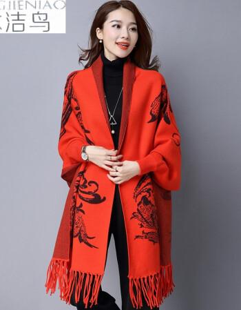 冰潔鳥2018春秋季新款女裝針織開衫中長款斗篷披肩毛衣女風衣外套上衣圖片