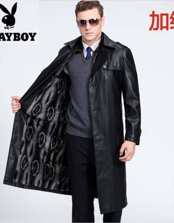 花花公子真皮皮衣男士秋冬長款中年皮大衣翻領加絨過膝皮風衣外套圖片