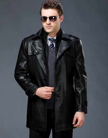 新款真皮皮衣男士中長款西裝領加絨厚皮風衣外套 黑色圖片