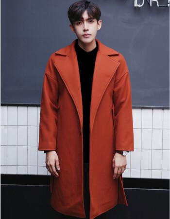 光迅男士風衣2017新款冬季中長款毛呢大衣男韓版寬松呢子外套英倫帥氣圖片