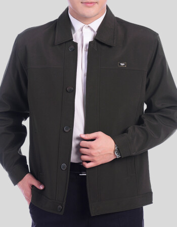 【】中老年男裝外套中年男士夾克春秋翻領系扣休閑裝男款 藏青色 xl圖片
