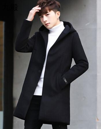 冬季男士外套韓版風衣男中長款青年連帽加厚潮流帥氣男裝毛呢大衣 f4圖片