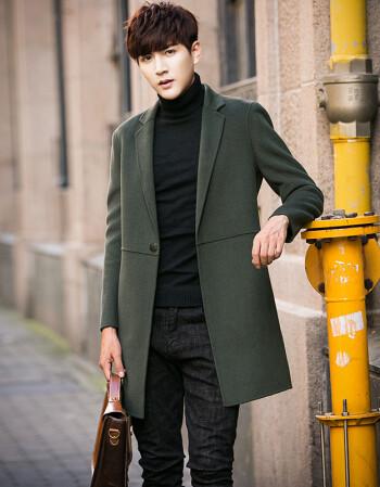 男裝 風衣 風沙渡 風沙渡男士風衣中長款英倫韓版修身羊絨雙面呢子圖片
