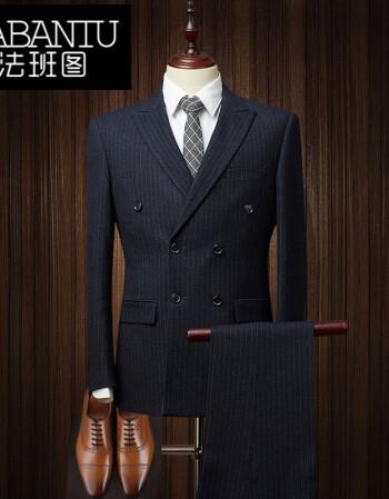 男士条纹西服套装2017新款修身版中年商务正装双排扣西装 黑色 165