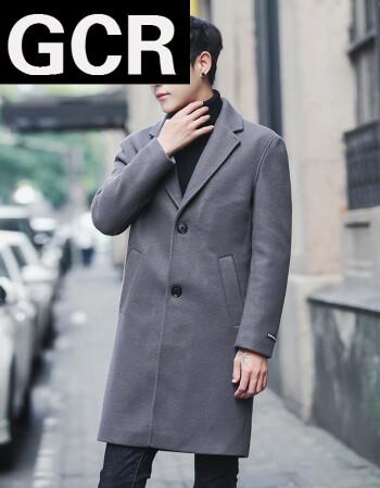 gcr新品中長款呢子風衣男2018冬季新款男士外套韓版修身帥氣男裝毛呢圖片