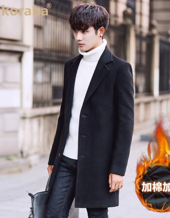款秋冬季男士毛呢大衣韓版修身風衣男中長款加厚呢子外套潮男裝衣服潮圖片