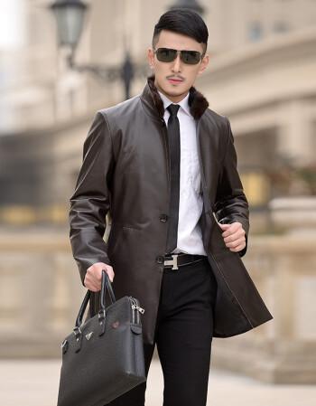 新款真皮風衣男士中長款海寧綿羊皮真皮皮衣男裝修身單皮外套 棕色圖片