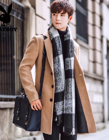 花花公子秋冬季男士中長款風衣男款韓版修身毛呢大衣男裝呢子外套 11圖片