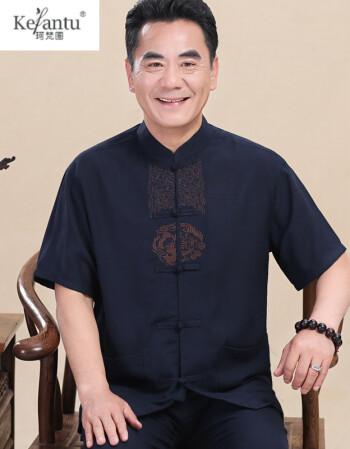 珂梵圖夏季中老年唐裝男亞麻短袖薄款中國風棉麻套裝男爸爸寬松老人圖片