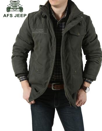 战地吉普afs jeep男士棉服 秋冬新款男装加绒加厚纯棉纯色棉衣 中长款