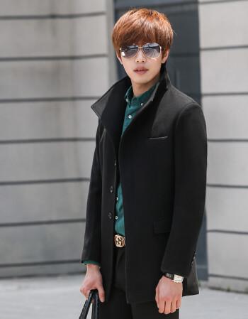 2015秋冬季韓版男士修身中長款風衣外套潮男英倫休閑純色翻領毛呢大衣圖片