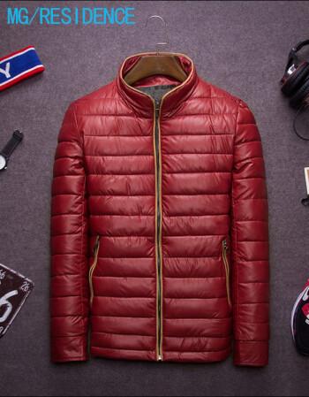 mg/residence青年冬季男士加絨加厚棉衣 韓版修身立領圖片