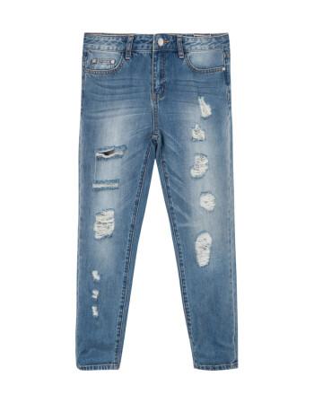 美特斯邦威女牛仔裤夏装新款女破洞rd牛仔长裤246709 中蓝色 165/68A