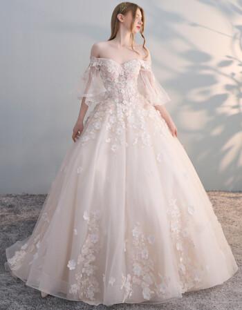 新娘礼服_婚纱2018新款 新娘 显瘦 抖音同款一字肩婚纱礼服2018