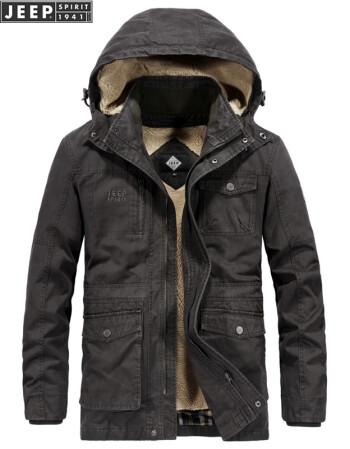 吉普JEEP男士冬季棉服外套可脱卸内胆 2019新休闲中长款加厚带绒保暖棉衣 LST1507灰色 L