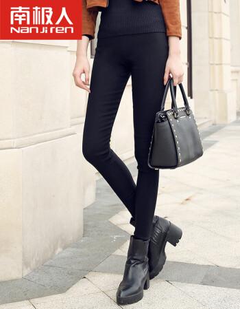 南极人加绒加厚打底裤女冬季小脚外穿高腰修身保暖长裤弹力女裤 黑色 L