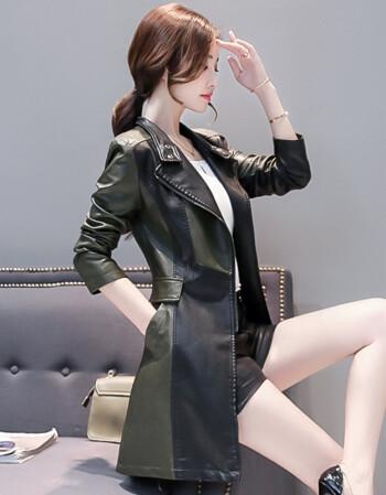 法莎尼亚轻奢品牌真皮皮衣女中长款2018秋季新款绵羊皮大衣韩版修身皮风衣外套 黑绿 4XL