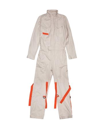KON2019秋季新款青年男士帅气潮流连体衣裤休闲套装春秋外套工装 白色 L/175