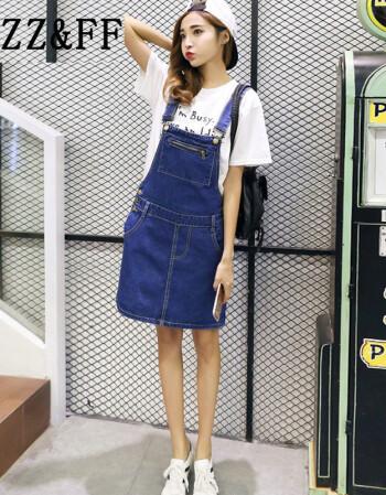在美国演a牅�9l#Zz�_zz&ff 2016夏装新款韩版学院风破洞牛仔背带a字短裙女