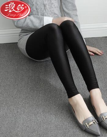 浪莎(Langsha) 光泽裤打底裤女夏薄款(有大码) 九分 光泽裤 M 建议120斤内