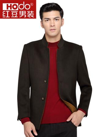 红豆(Hodo)男装 新款男士立领纯色毛呢大衣 G5 185/100A