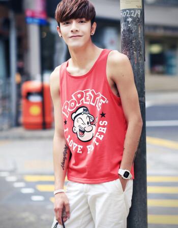 其采夏季男士弹力宽松运动汗背心男青年潮男卡通印花无袖健身篮球T恤男 BX60 XL
