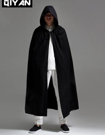 啟言中國風漢服亞麻男裝帶帽斗篷外套復古風衣長袍戴帽古裝披風披肩禪圖片