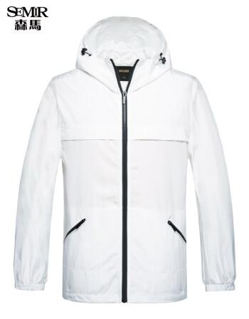 森马夹克 男士连帽运动休闲外套薄款便携韩版潮青年 白色调0111 XXL