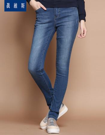 真维斯女装 秋季 柔软弹性棉混纺雨纹牛仔裤JW-63-281518 8571 靛蓝色 28
