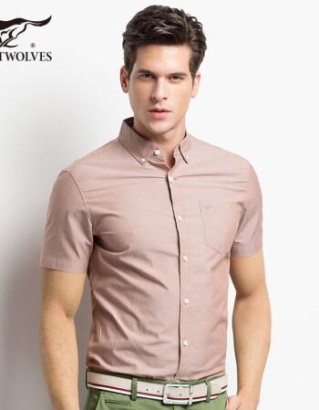 七匹狼短袖衬衫男士免烫纯棉纯色时尚商务男装上衣 303咖啡色 175/92A/xl