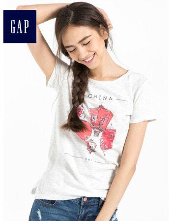 Gap女装 城市主题印花短袖T恤2017新款打底衫714898 珊瑚粉红 160/80A(XXS)
