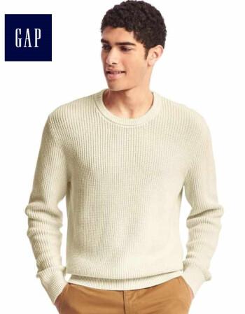 Gap男装 纯棉圆领粗棒针织衫 纯色经典款套头毛衣466362 米白 180/96A(M)