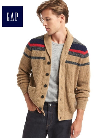 Gap男装 含美利奴羊毛针织衫 活力条纹翻领毛衣 324087 驼色条纹 185/104A(L)