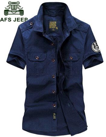 战地吉普 短袖衬衫男新款商务休闲衬衫男士纯棉户外多口袋短袖衬衣男 蓝色. L