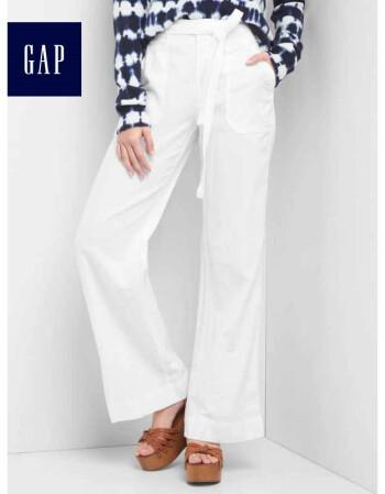 Gap女装 时尚舒适亚麻系带中腰阔腿裤720044 光感亮白 165/72A(28)