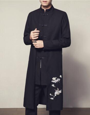 中國風復古棉麻中長款風衣男秋季中式唐裝漢服青年刺繡長袍外套潮圖片