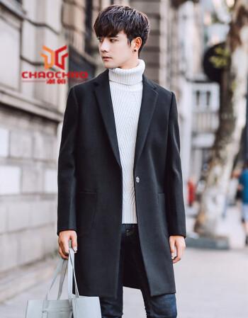 秋冬裝男士風衣韓版修身中長款毛呢大衣潮流青年發型師帥氣顯瘦百搭圖片