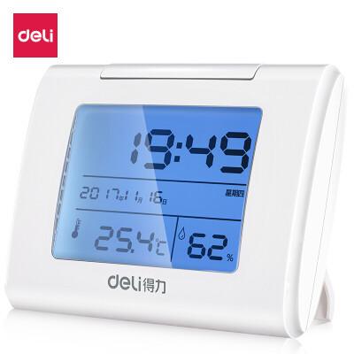 得力(deli) 9026 时尚经典大屏幕数显多功能电子闹钟/懒人座钟 创意温湿度显示 夜间背光