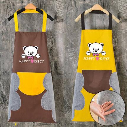 【厨房必备】可爱小熊挂脖擦手巾围裙 小熊防水+可擦手