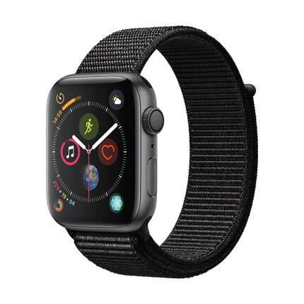 Apple Watch Series 4苹果智能手表(GPS款 44毫米深空灰色铝金属表壳 黑色回环式运动表带 MU6E2CH/A)