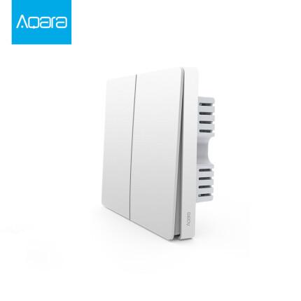 绿米Aqara 墙壁开关(ZigBee单火双键版)生态链企业产品 已接入米家 智能灯控开关 双键单火线版86开关