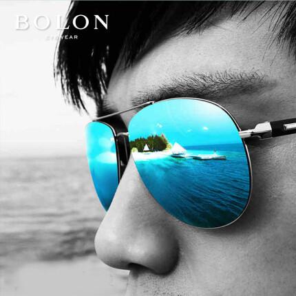BOLON暴龙太阳镜男偏光墨镜 大框开车司机驾驶镜高清太阳眼镜潮蛤蟆镜 BL2362 M06 模特款 镜面蓝色