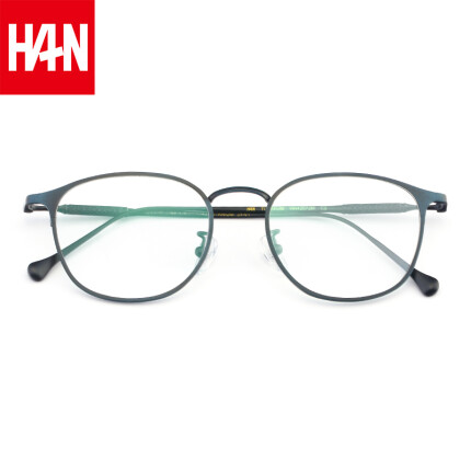汉(HAN)近视眼镜框架男女款 纯钛防蓝光辐射护目镜 42072 哑蓝 蓝光配镜(1.56全天候非球面防蓝光镜片)