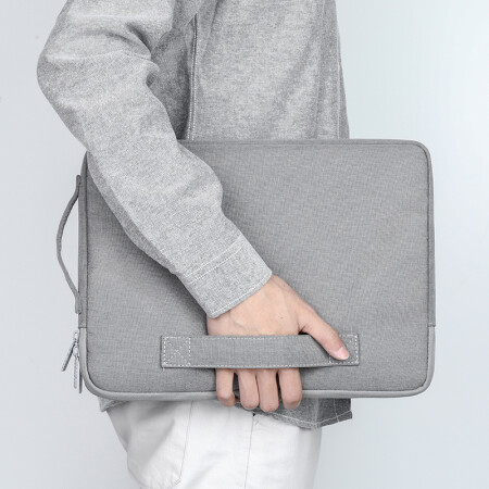 BUBM 苹果小米联想华硕电脑包手提13.3英寸笔记本保护套戴尔华为商务内胆包男女 灰色FXQN-13.3英寸