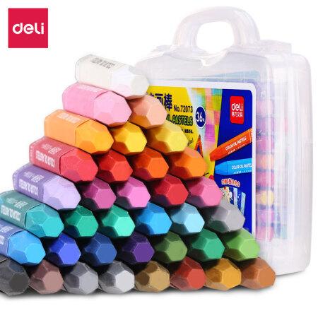 得力(deli)36色学生六角杆丝滑油画棒 儿童蜡笔绘画笔(内赠5张填色卡)72073