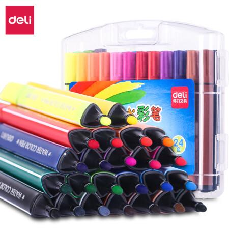得力(deli)70658 可水洗24色水彩笔绘画笔 粗三角杆 盒装