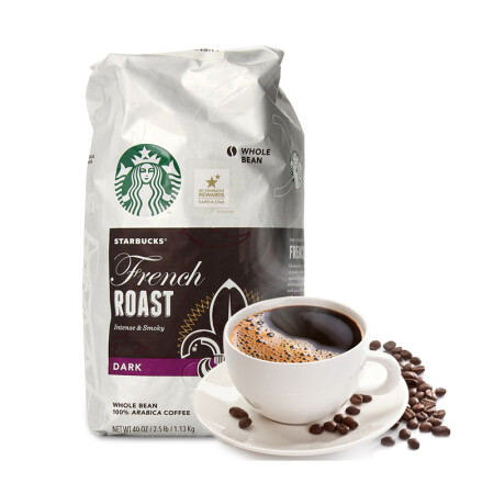星巴克咖啡在美国_星巴克/STARBUCKS 美国进口法式浓香深度烘焙咖啡豆 无糖咖啡粉 纯 ...