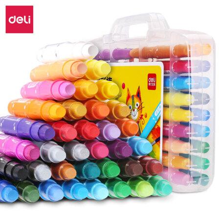 得力(deli)36色盒装学生水溶性旋转油画棒 儿童可水洗蜡笔绘画笔炫彩棒72078