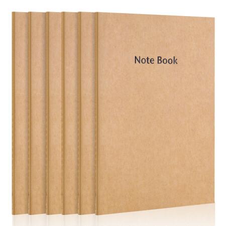 广博(GuangBo)6本装16K60张网格牛皮纸记事本子/软抄本 原色GB16403-3
