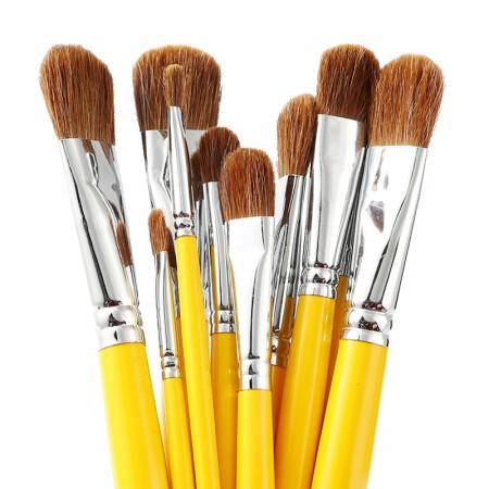 博格利诺(BOGELINUO)绘画水粉丙烯油画水彩多规格画笔套装6支装黄色长杆水粉笔套装
